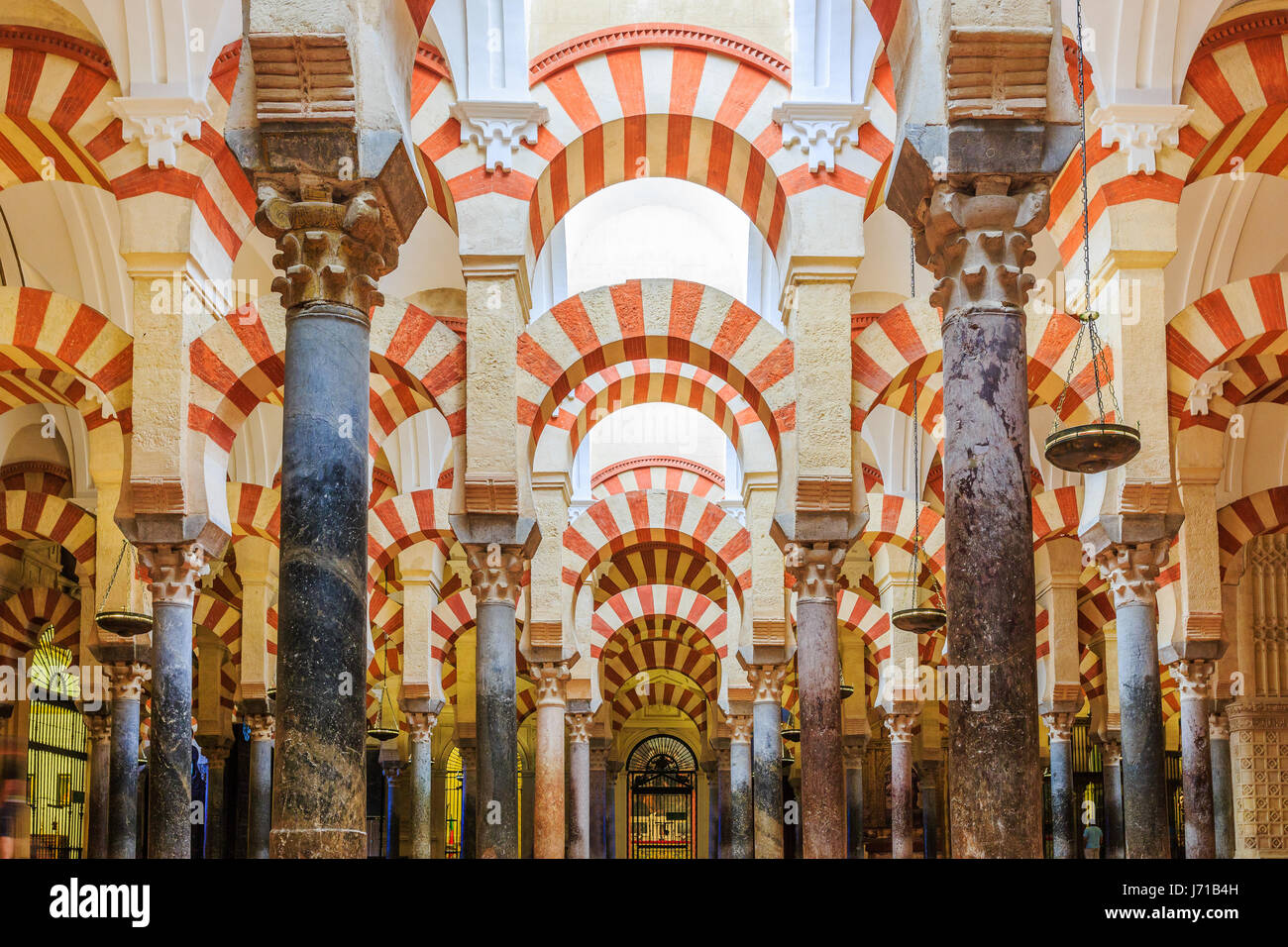 CORDOBA, SPAIN - September 29, 2016: Interior view of La Mezquita Cathedral in Cordoba, Spain. Cathedral built inside - Stock Image