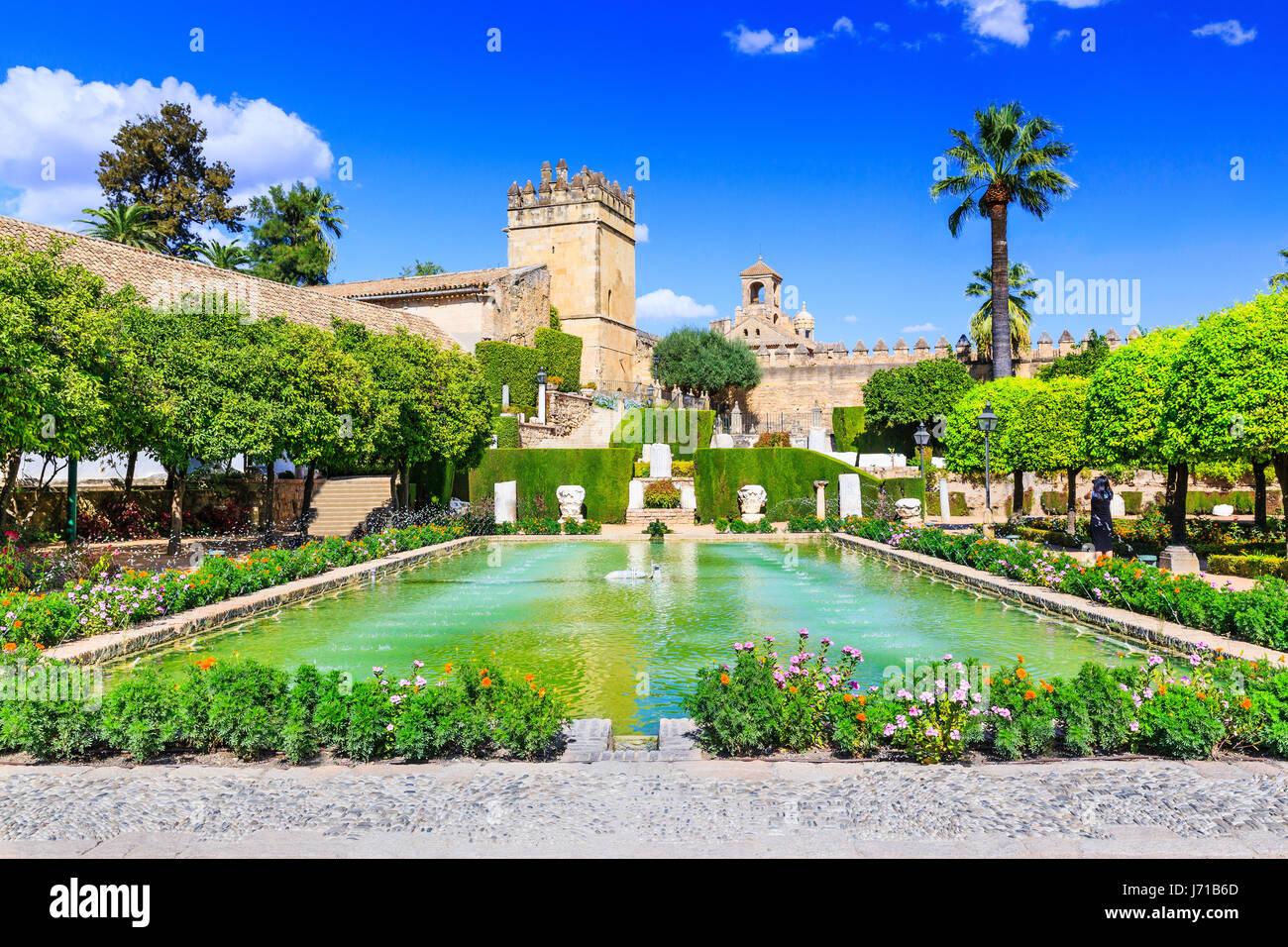 Cordoba, Spain. Gardens of Alcazar de los Reyes Cristianos - Stock Image