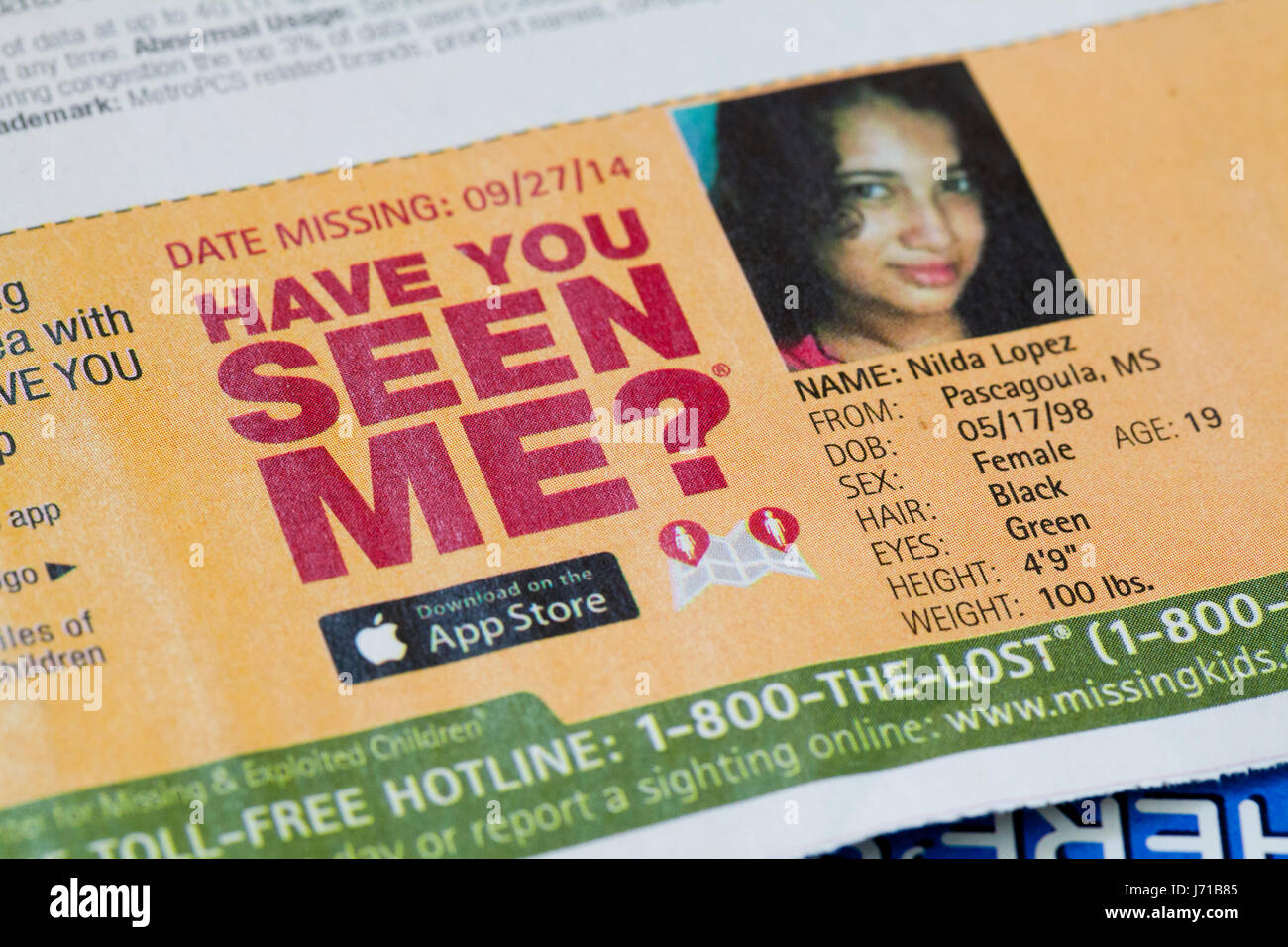 Have You Seen Me ad of missing girl (missing children, missing child, missing person, missing persons) - USA - Stock Image
