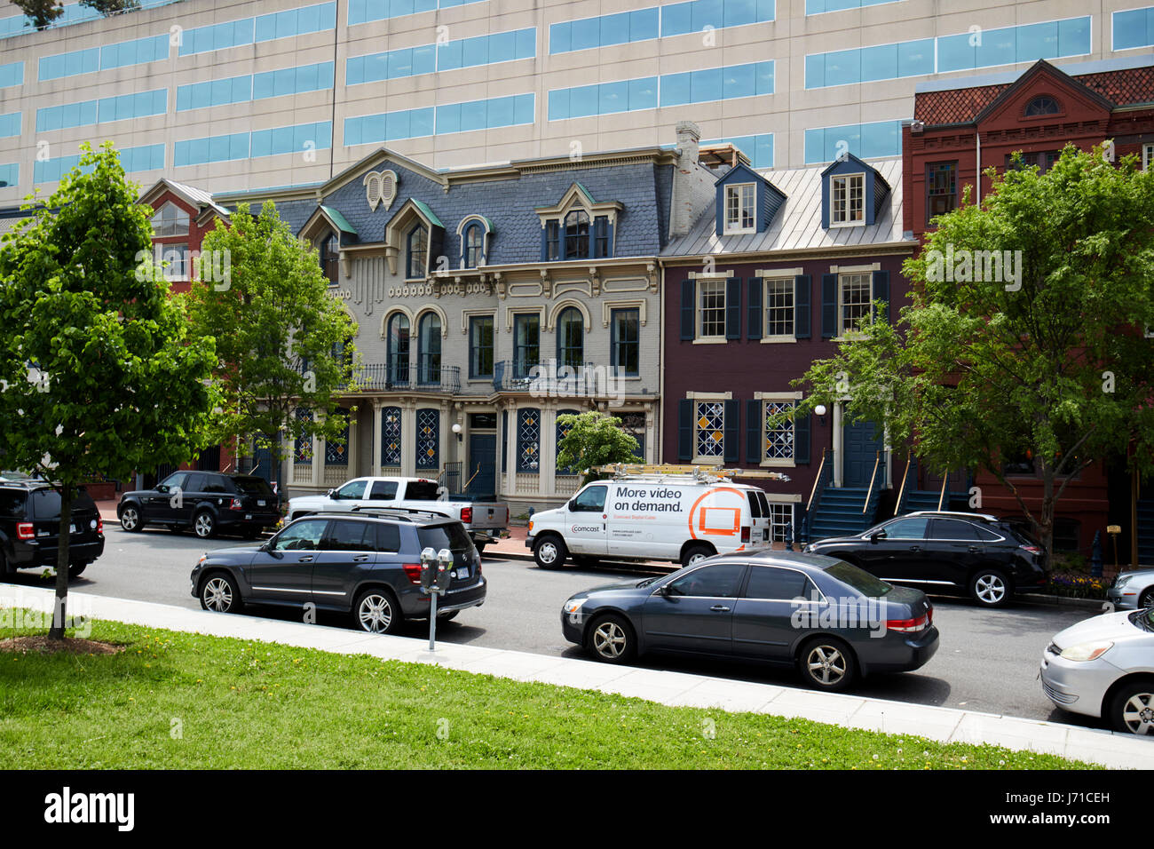 facade of historic row houses on shops at 2000 penn Washington DC USA - Stock Image