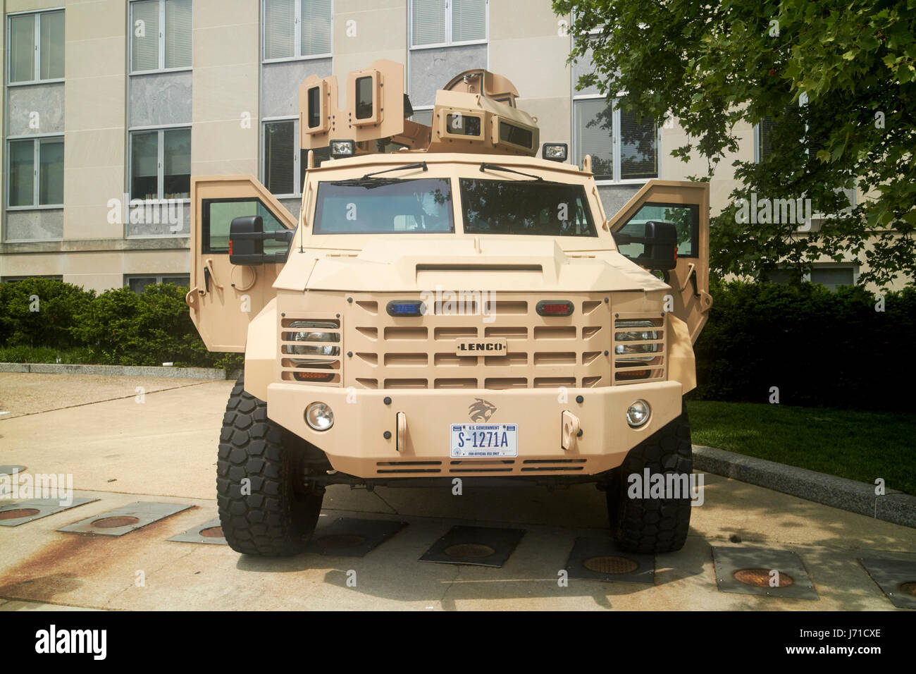 state department lenco bearcat g5 close private security detail armored personnel vehicle Washington DC USA - Stock Image