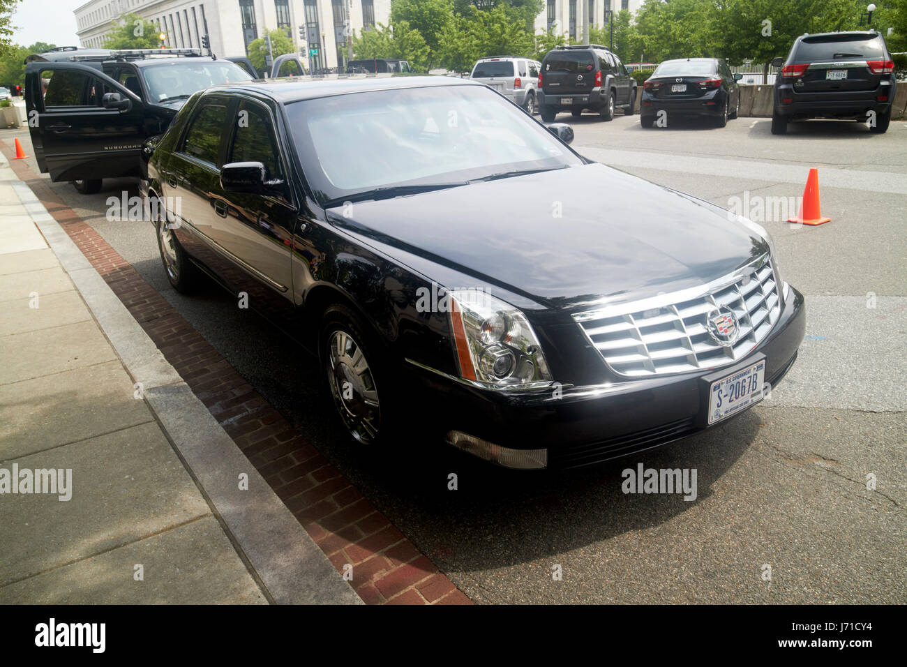 state department armored cadillac dts deville sedan vehicle Washington DC USA - Stock Image