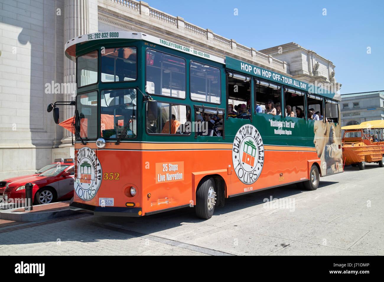 old town trolley tour Washington DC USA - Stock Image