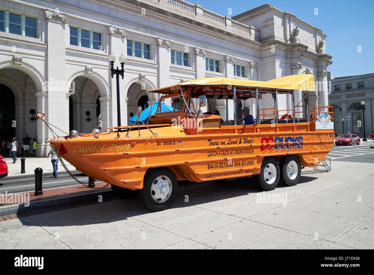 capital duck dc ducks tour Washington DC USA - Stock Image
