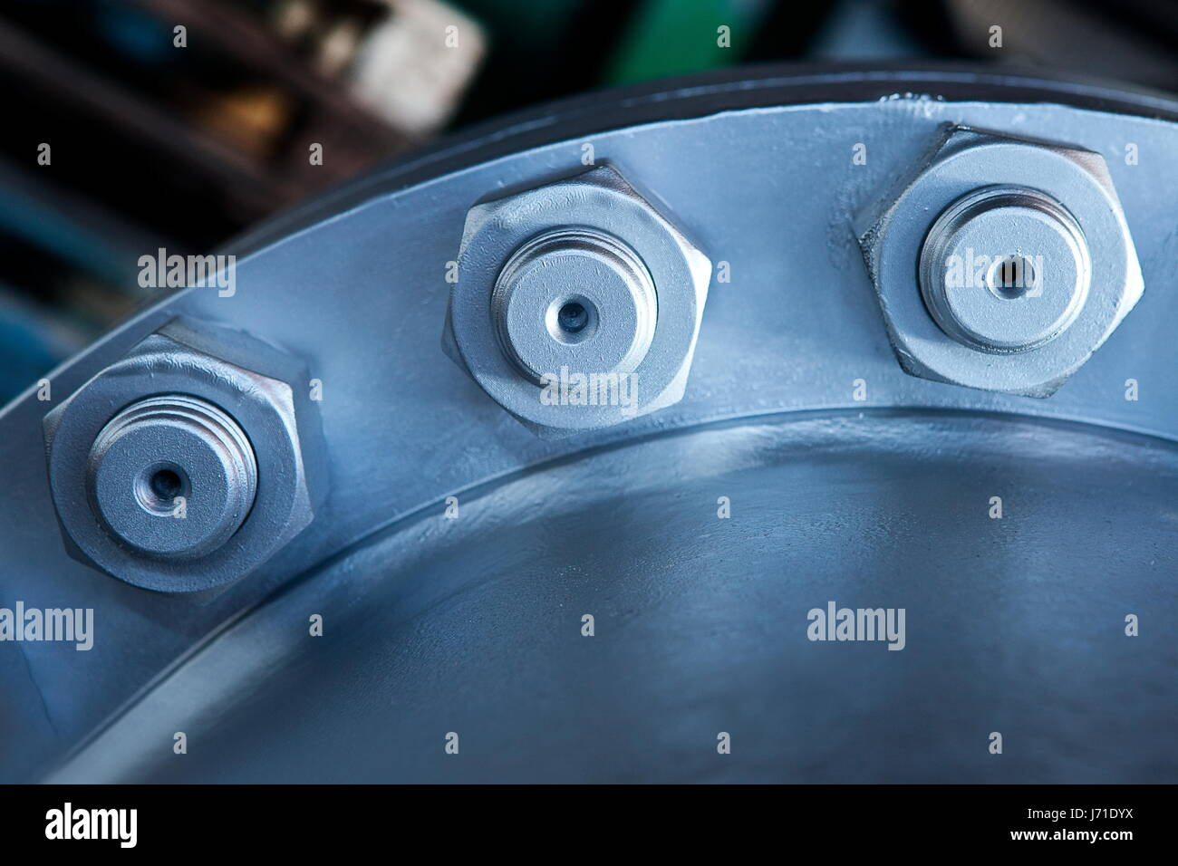 Joint of two flanges by bolts and nuts - Stock Image