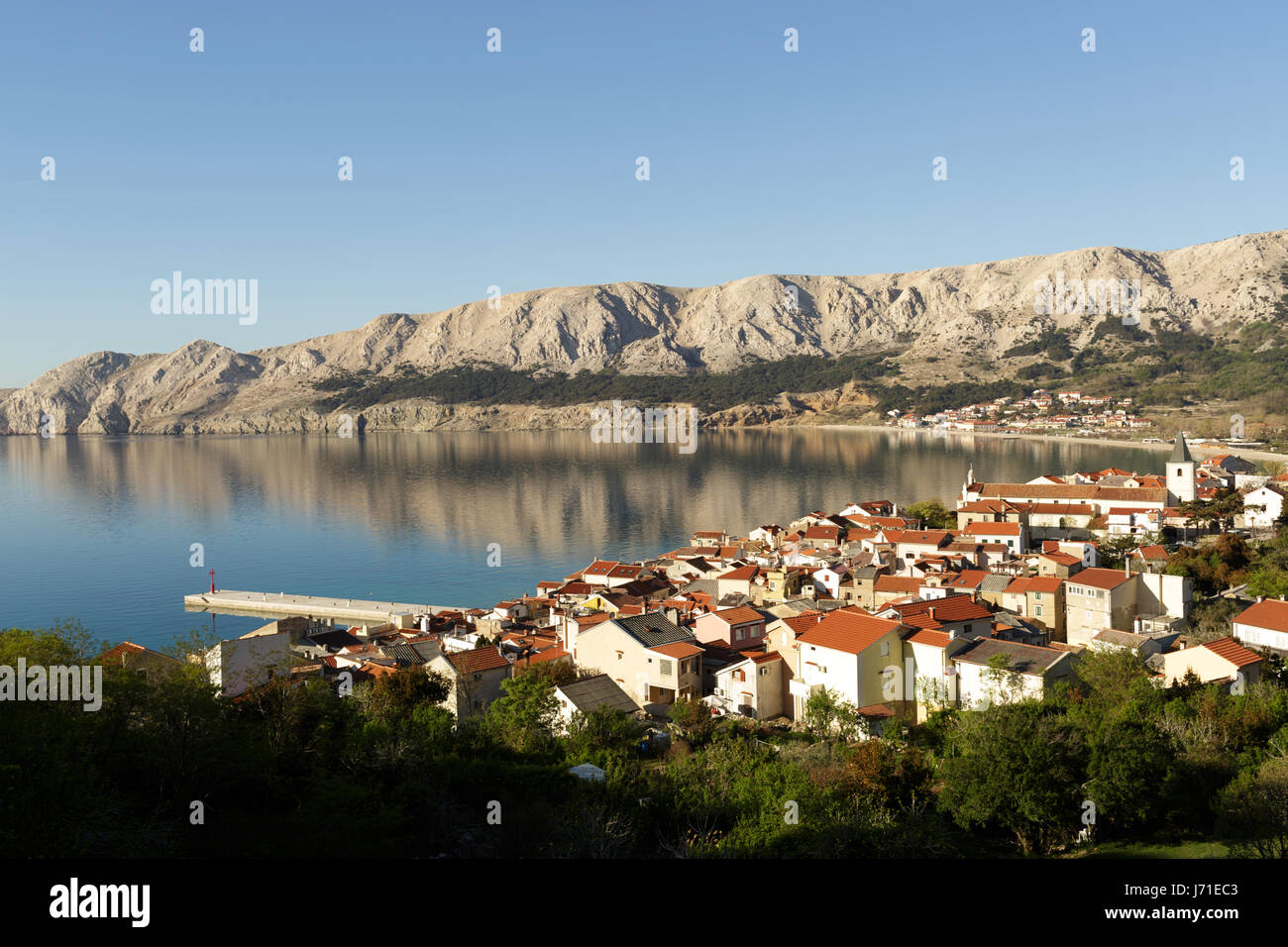 The town of Baska, island of Krk, Croatia. - Stock Image