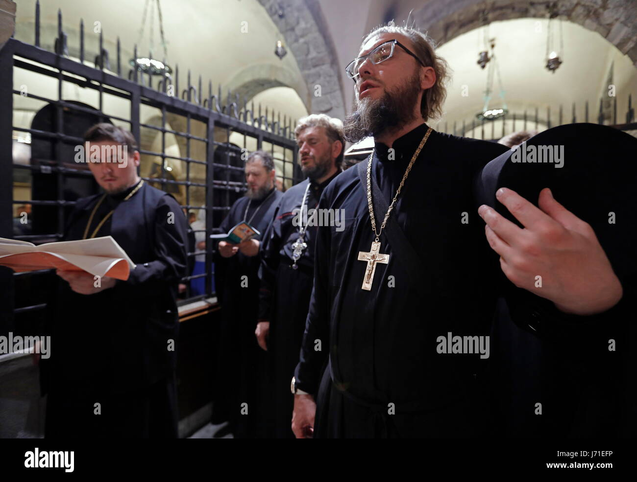 BARI, ITALY - MAY 20, 2017: Clergymen seen during a liturgy at the Basilica of Saint Nicholas ahead of sending an - Stock Image