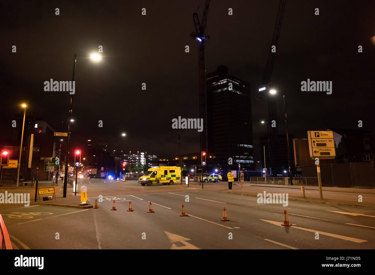 Manchester UK. Tuesday 23rd May 2017. Police cordon on Ring Road junction Oldham Street. 22 people confirmed dead - Stock Image