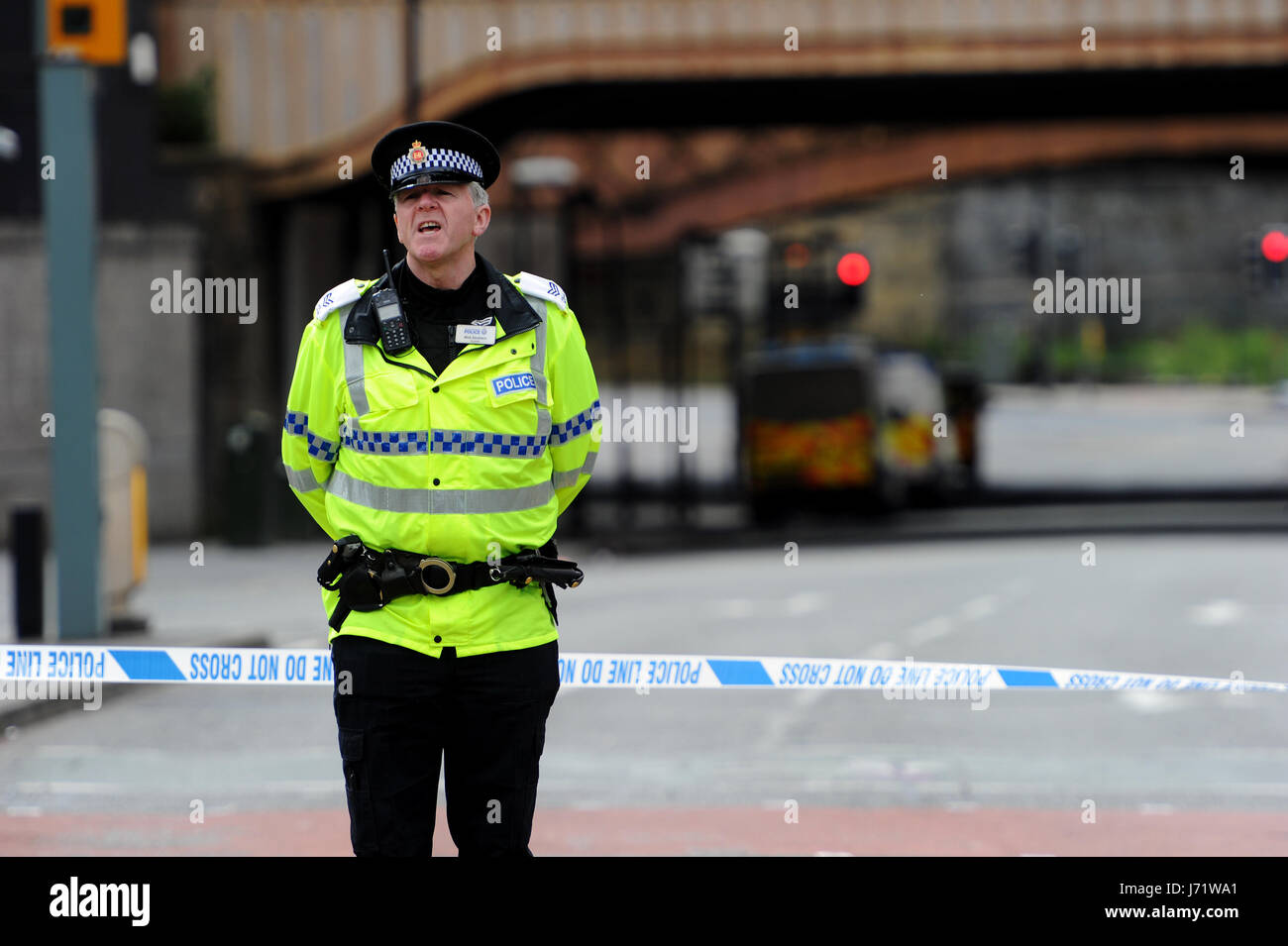 Manchester, UK. 23rd May, 2017. The scene outside the Manchester Arena, Manchester UK,  the morning after a suspected - Stock Image