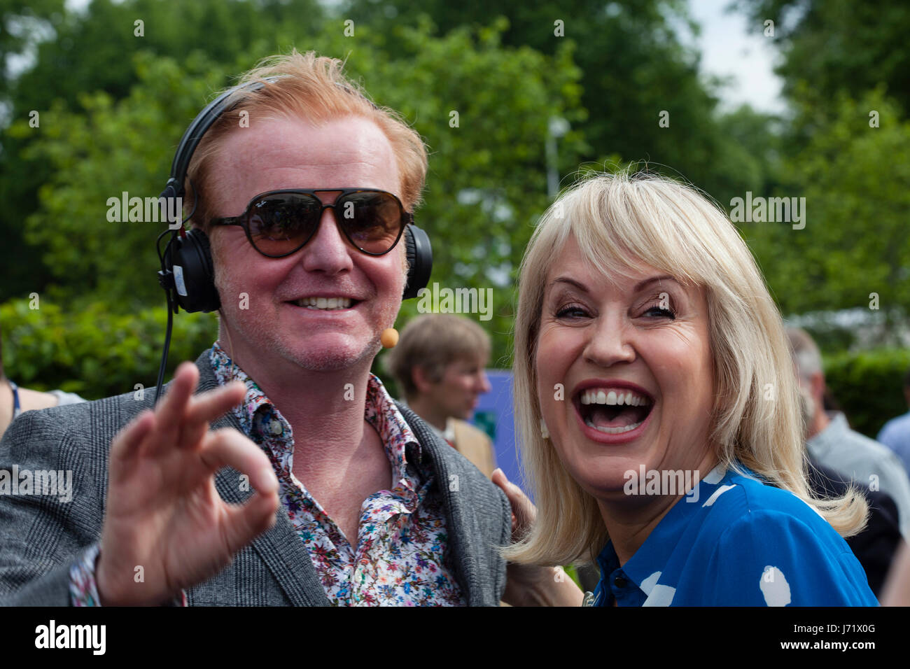 Chelsea Flower Show, London, England, 22nd May 2017. Chris Evans with Nicky Chapman broadcasting his breakfast show Stock Photo