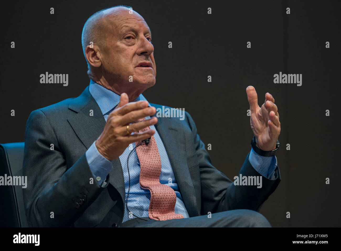 London, UK. 23rd May, 2017. Lord Norman Foster, one of the curators - The Cartier in Motion exhibition at the design - Stock Image