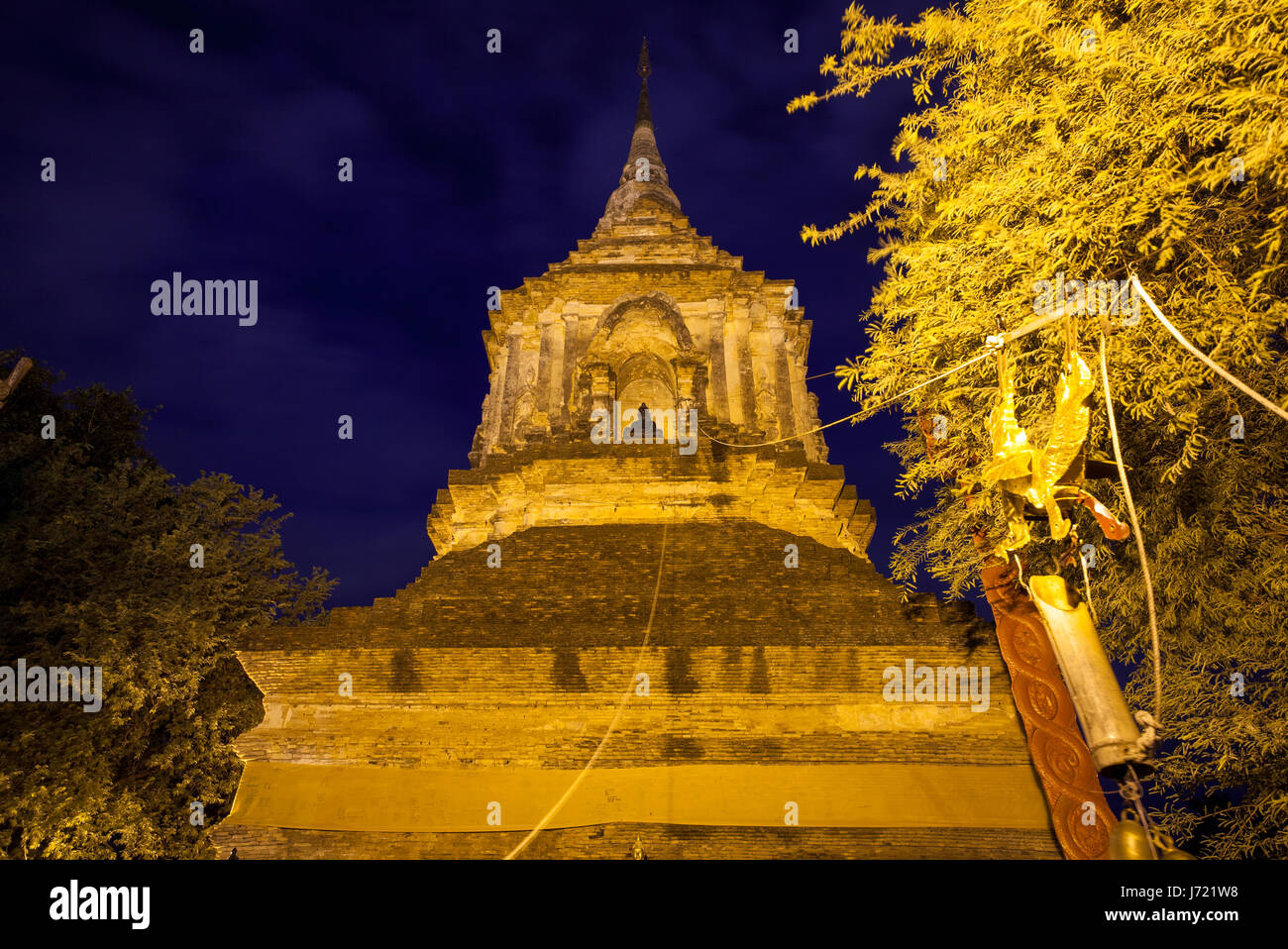 Large chedi at the Wat Lok Molee, one of the oldest temples in Chiang Mai, Thailand - Stock Image