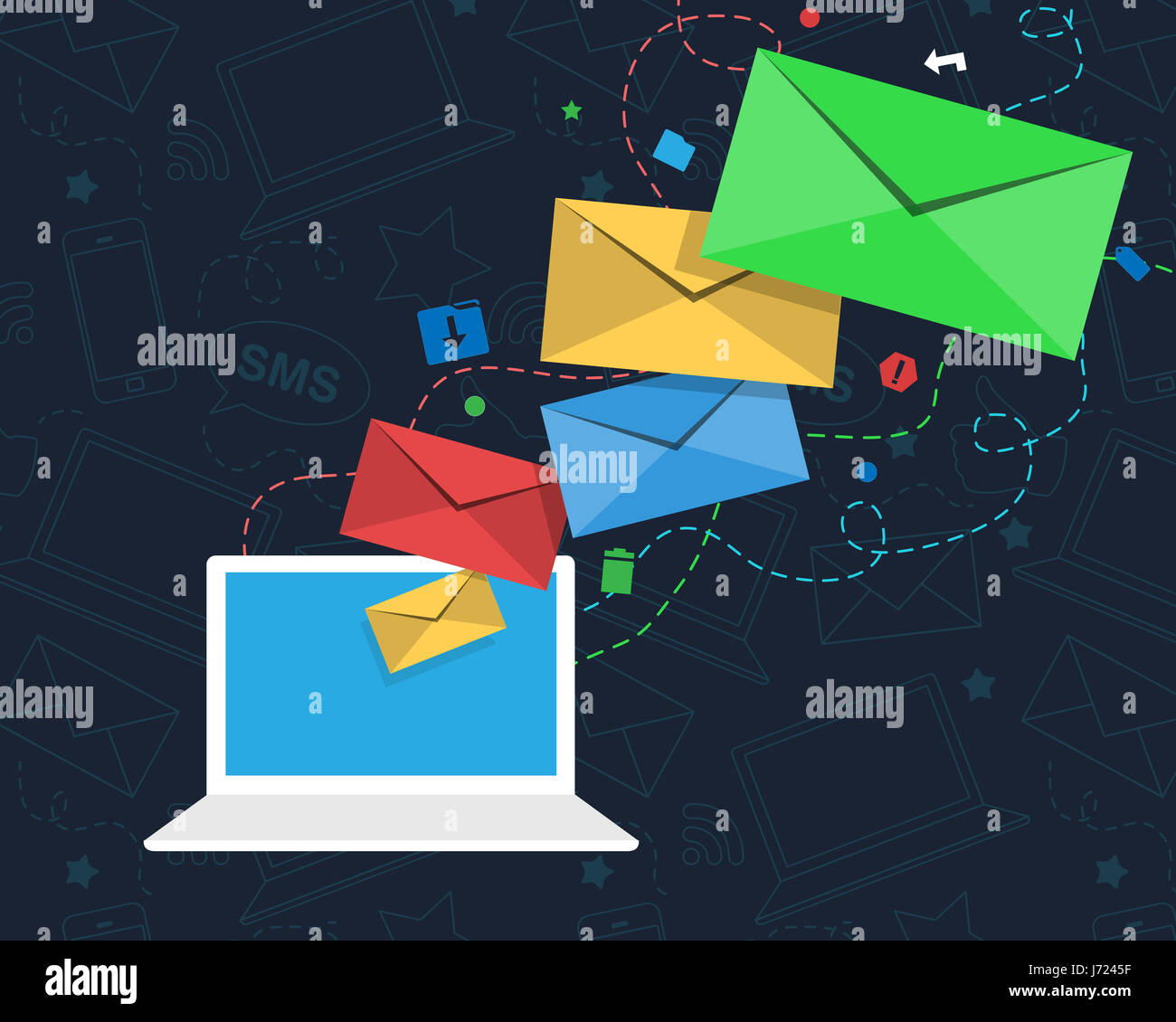 An email newsletter concept with colorful envelopes flying from the screen of a laptop. The computer is surrounded - Stock Image