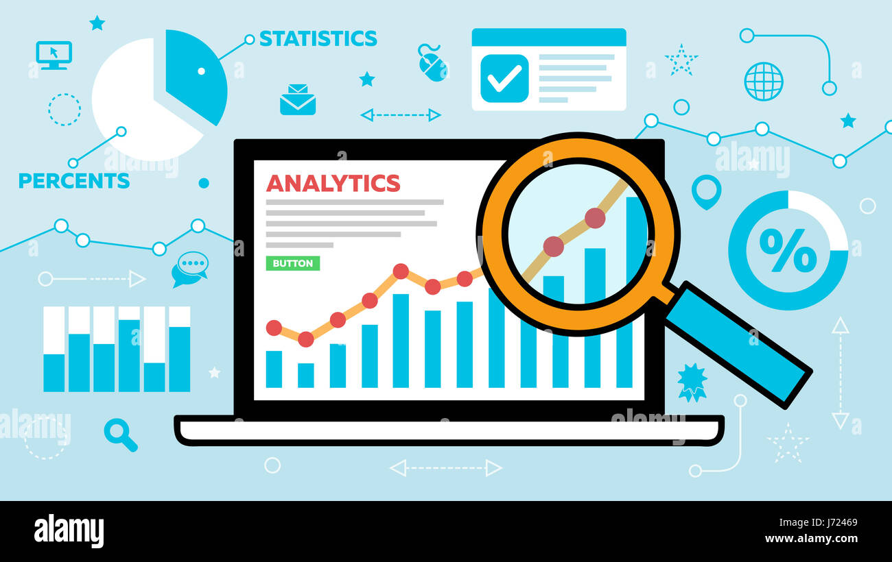 An Analytics and Statistics concept illustration on a colorful graph which is under a microscope on a laptop. related - Stock Image