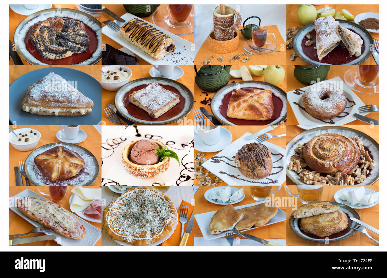 A largA large collage with sweet buns tea, coffeee collage with sweet buns tea, coffee Stock Photo