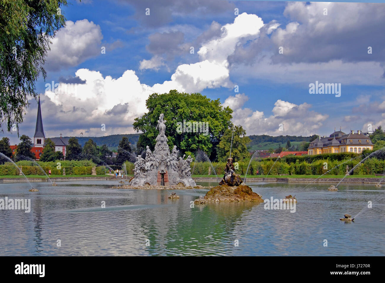 physiques fountain fresh water lake inland water water scenery countryside Stock Photo