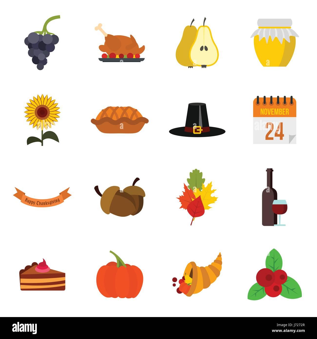 Thanksgiving Icons Set Flat Style Stock Vector Art