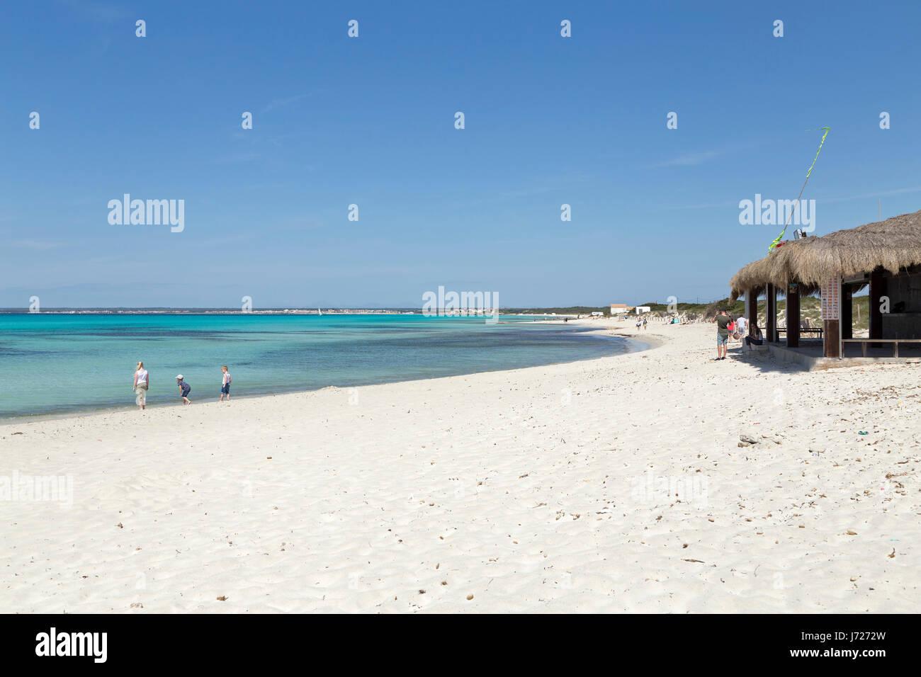 Es Trenc beach near Colonia Sant Jordi, Majorca, Spain - Stock Image