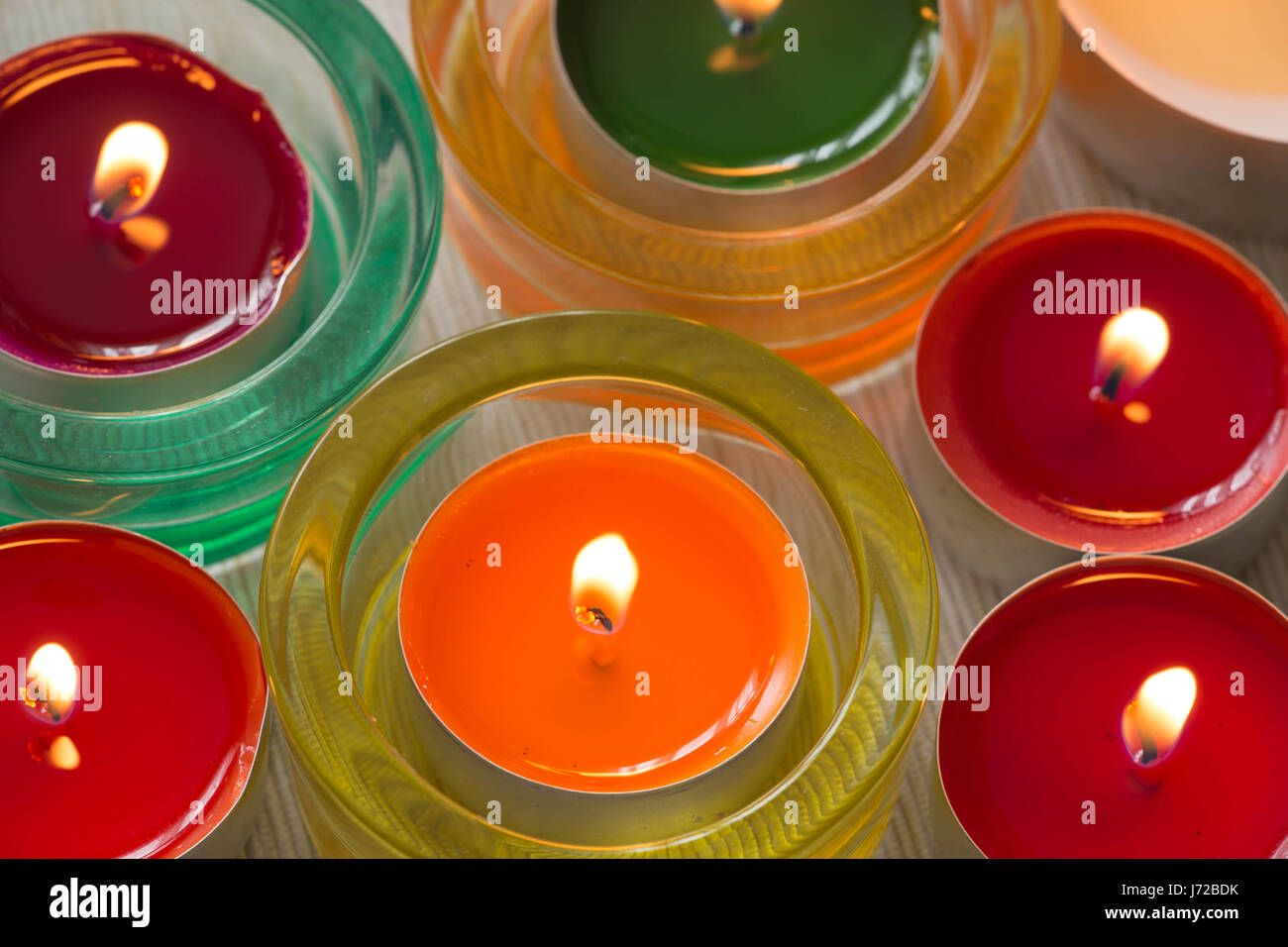 colorful candles / hygge time - Stock Image
