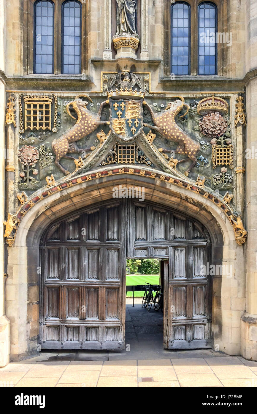 The great gate of Christ's college university of Cambridge, in Cambridge, UK - Stock Image