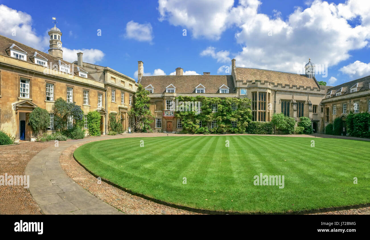 Fist court at Christ's college university of Cambridge, in Cambridge, UK - Stock Image