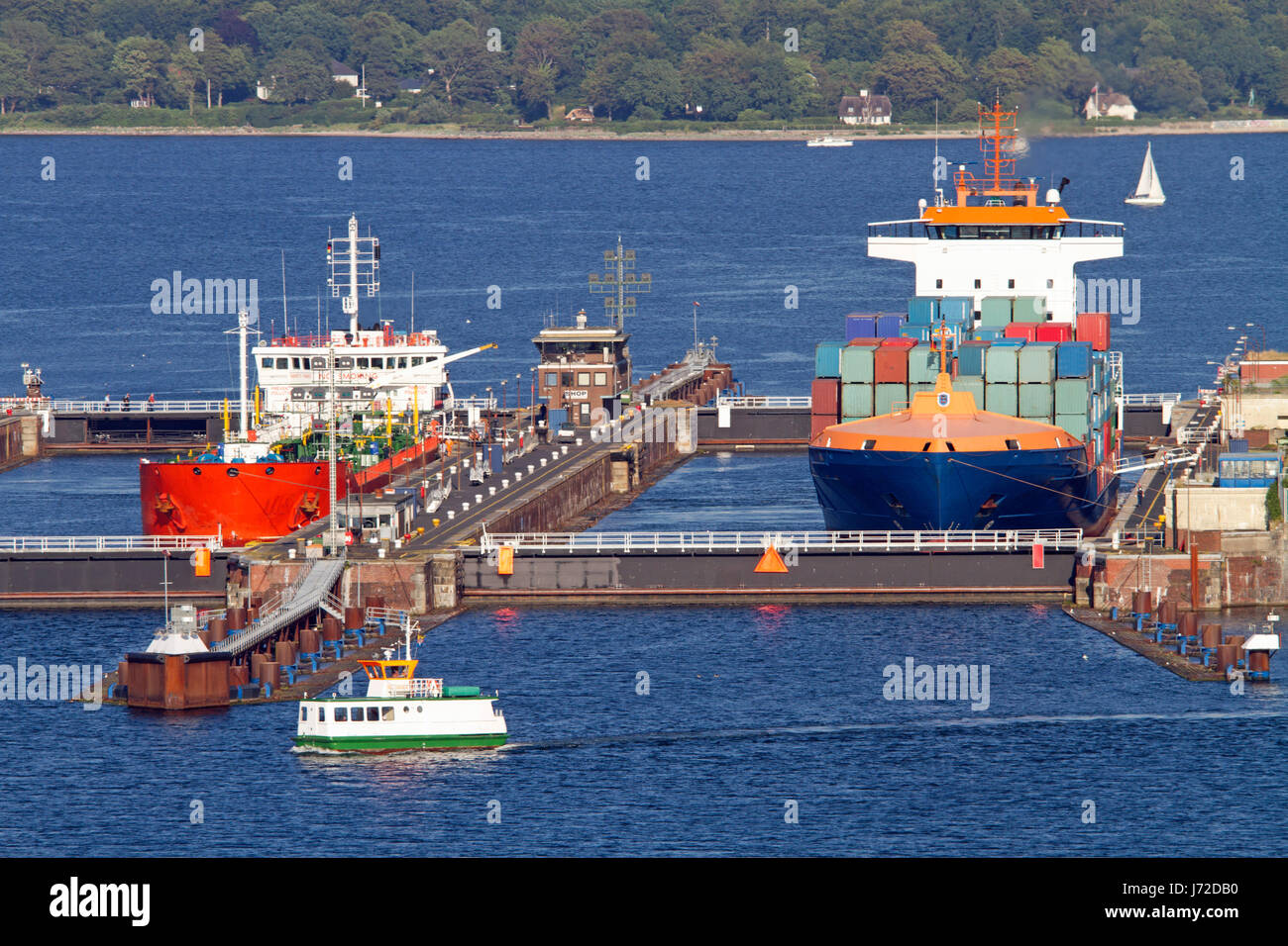 ships in the sluice holtenau to kiel canal,kiel Stock Photo