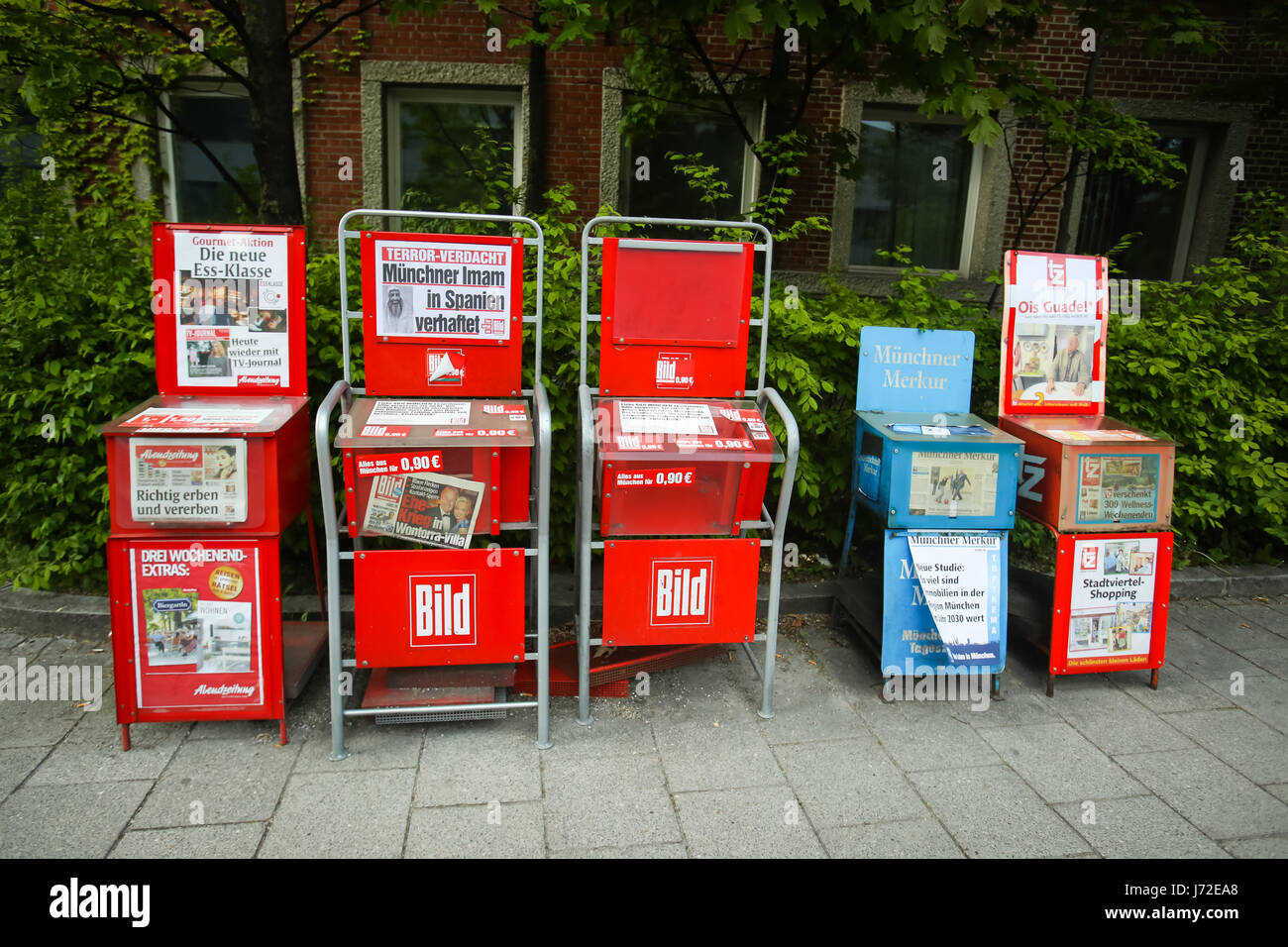 MUNICH, GERMANY - MAY 6, 2017 : Newspaper vending machines with tabloid Bild in Munich, Germany. - Stock Image