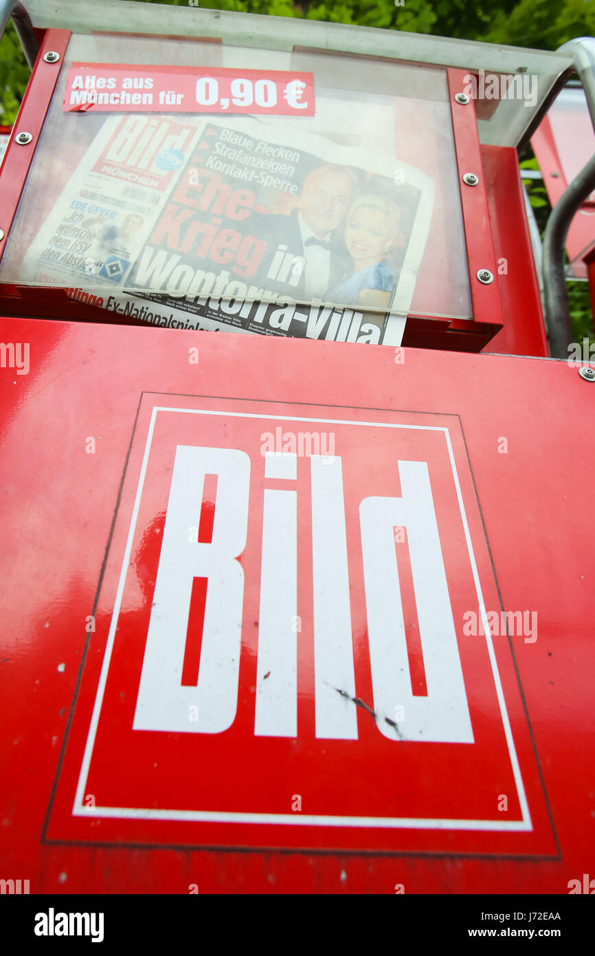 MUNICH, GERMANY - MAY 6, 2017 : Newspaper vending machine with tabloid Bild in Munich, Germany. - Stock Image
