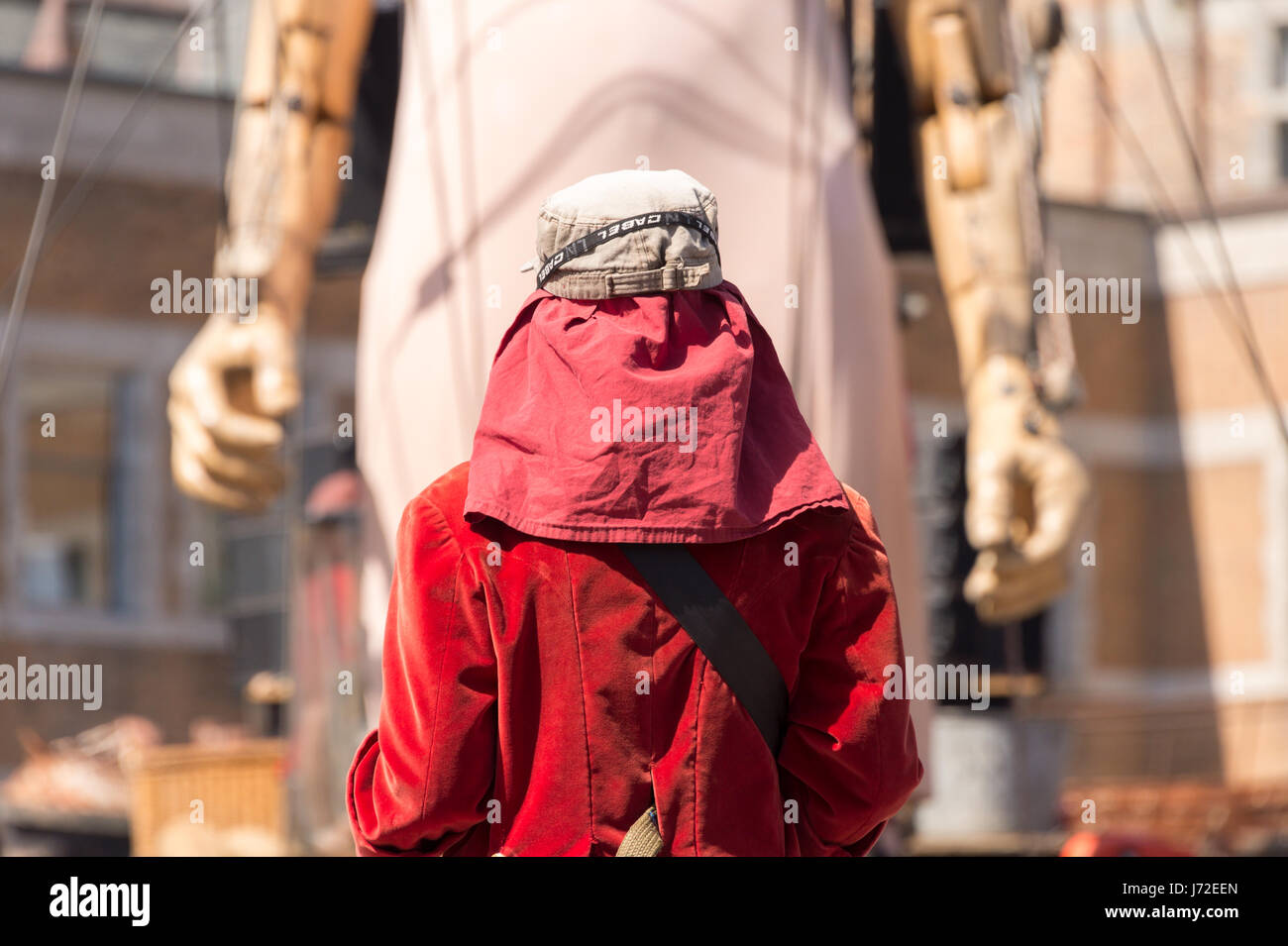 Montreal, CA - 20 May 2017: Royal de Luxe Giants as part of the commemorations of the 375th anniversary of Montreal - Stock Image