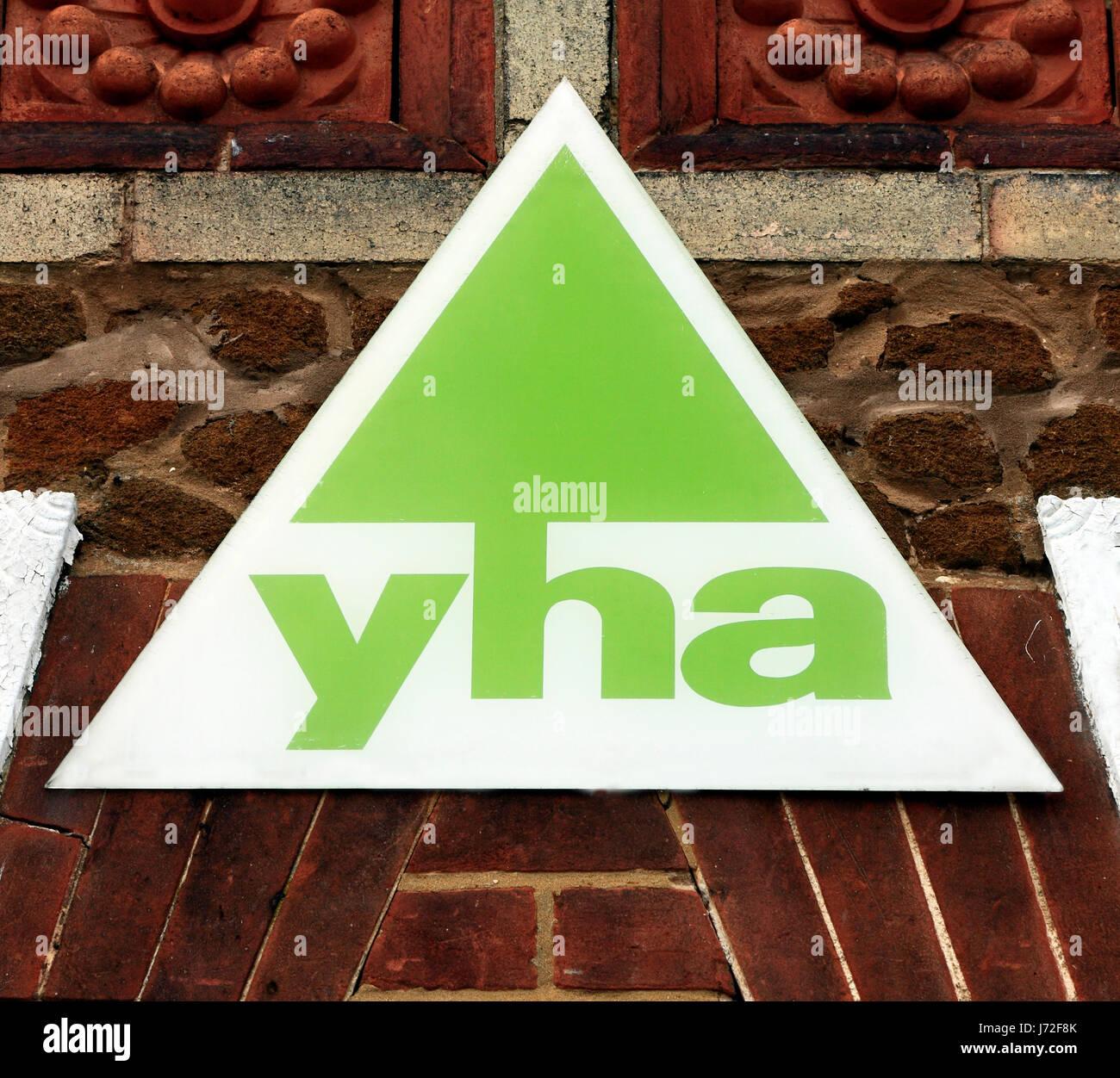 YHA, yha, sign, logo, Youth Hostel Association, England, UK - Stock Image