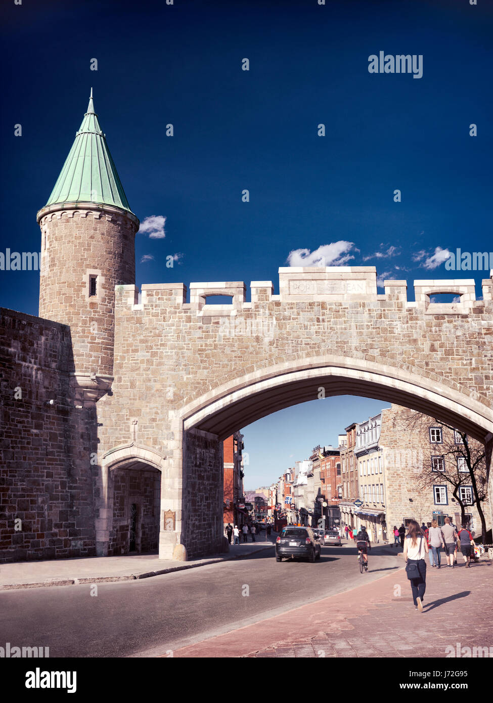 Porte St. Jean Quebec city historic wall fortification rampart. Rue Saint-Jean street, Quebec, Canada. Ville de - Stock Image