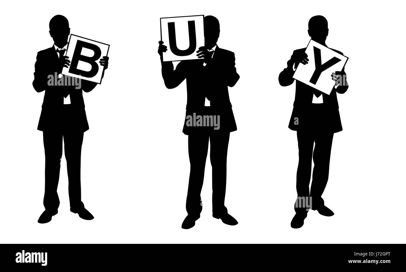 Silhouettes of businessmen holding panels isolated on white - Stock Image