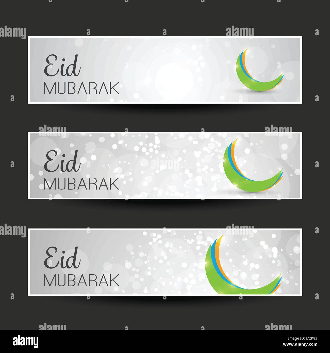 Blue Set of Eid Mubarak Greeting Header or Banner Templates with ...