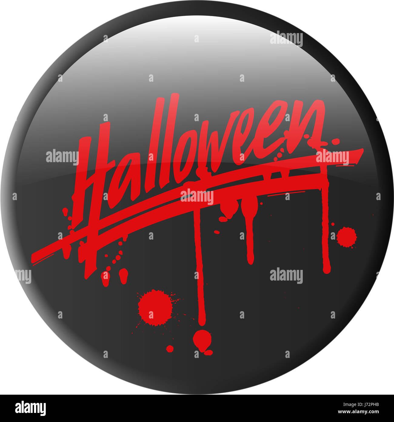 button abzeichen halloween spuk aufkleber bse blut horror button abzeichen - Stock Image