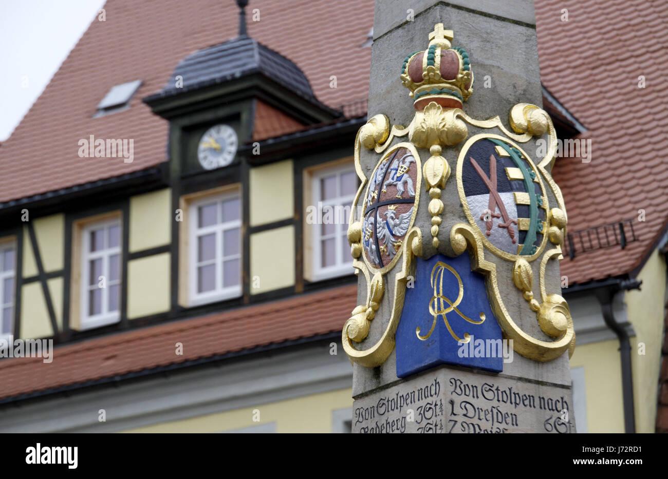 pillar signpost distances weekly market marketplace flea market switzerland - Stock Image