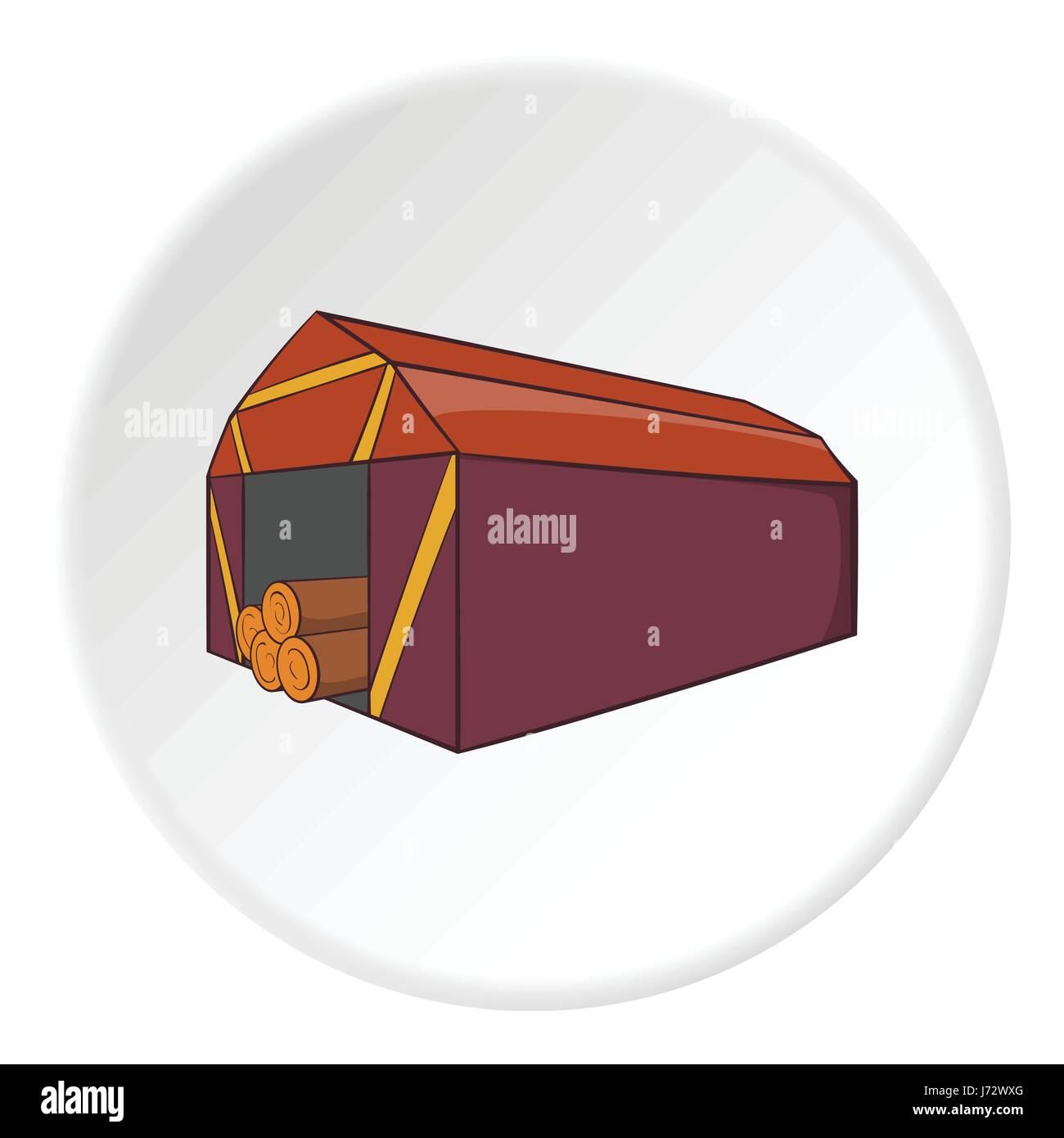 Storage location of tree icon, cartoon style - Stock Image