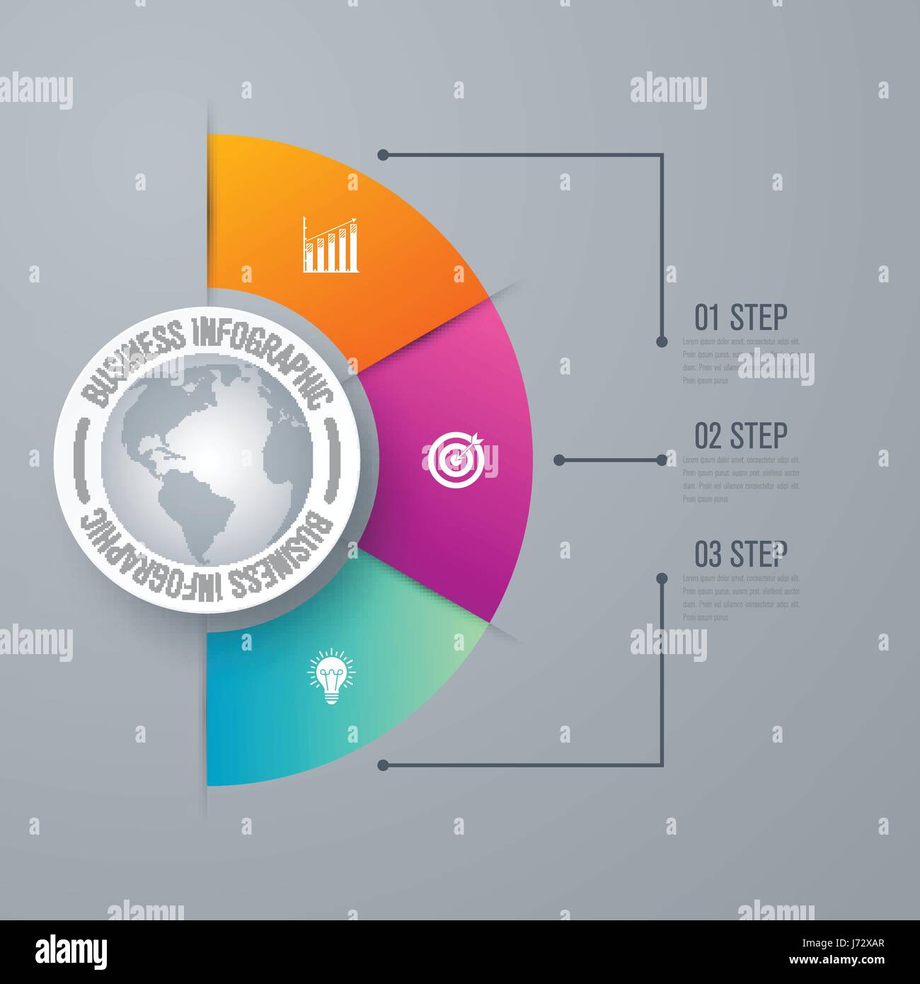 Design infographic template 3 steps - Stock Image