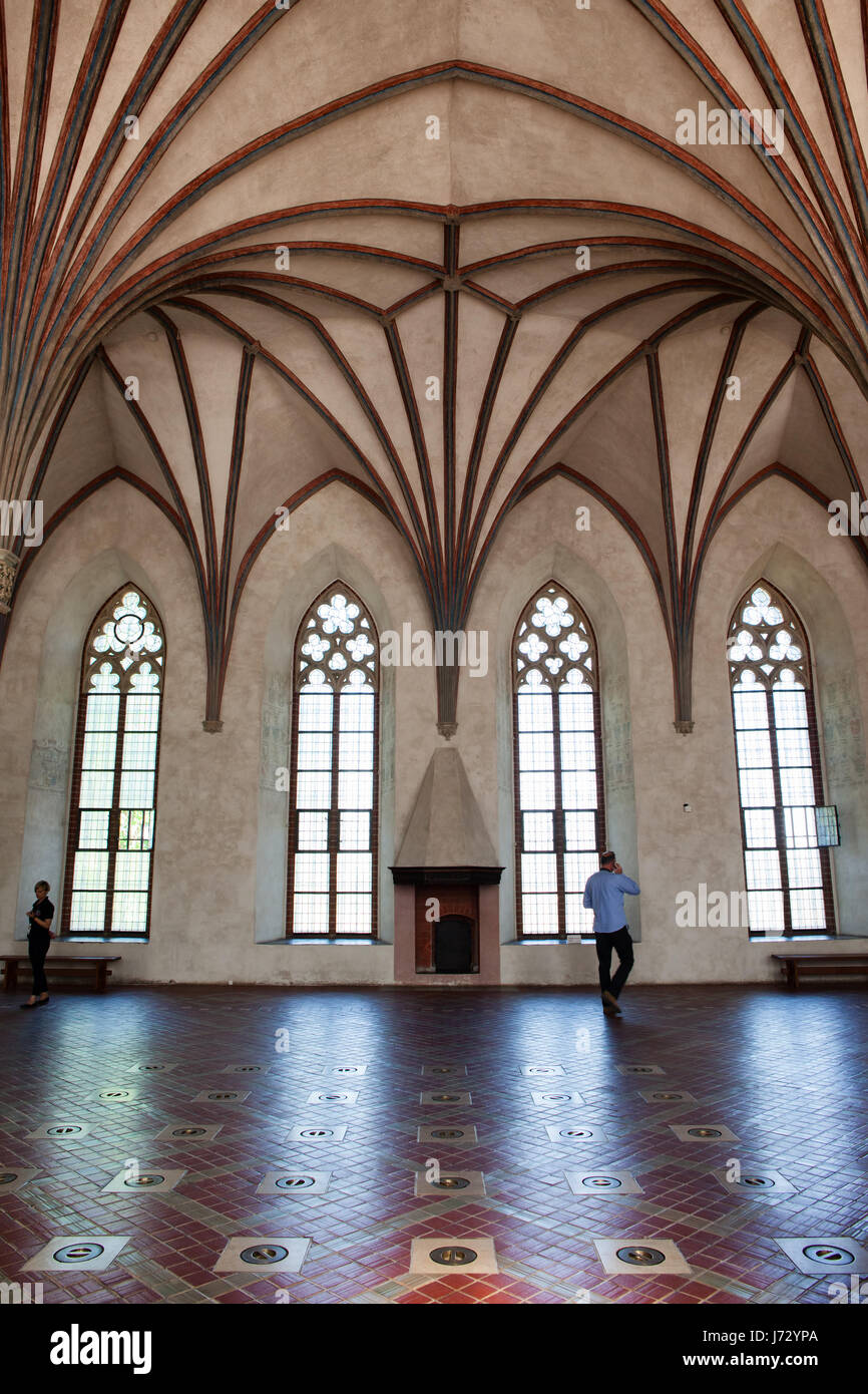 Malbork Castle Interior In Poland Europe The Grand Refectory With Gothic Rib Fan Vault Middle