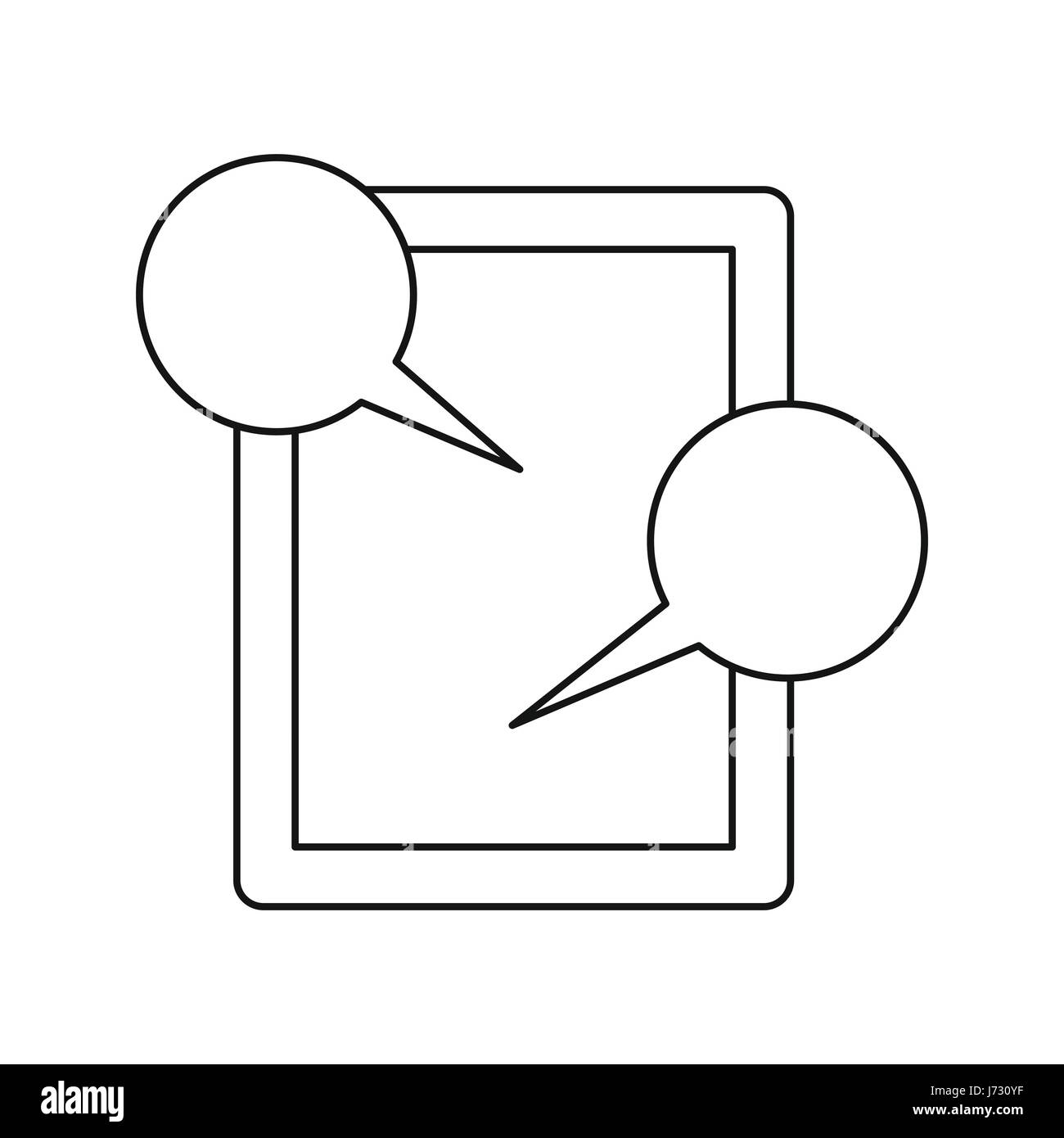 Tablet and speech bubbles icon, outline style - Stock Image