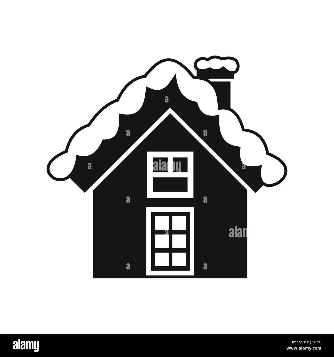 Small snowy cottage icon, simple style - Stock Image