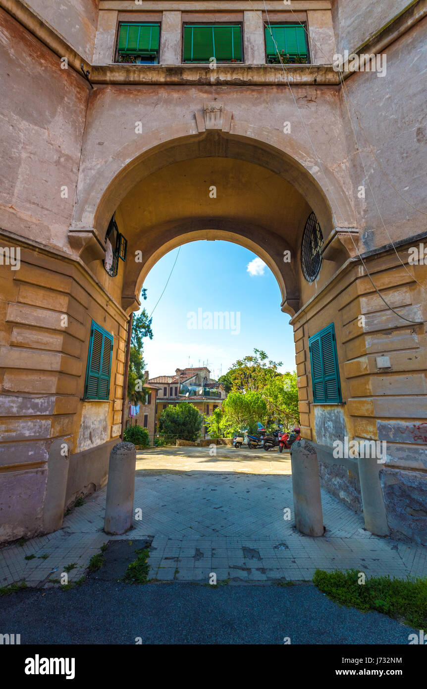 Rome, Italy - The suggestive popular Garbatella quarter in Ostiense district, an agglomeration in Rococo style with Stock Photo