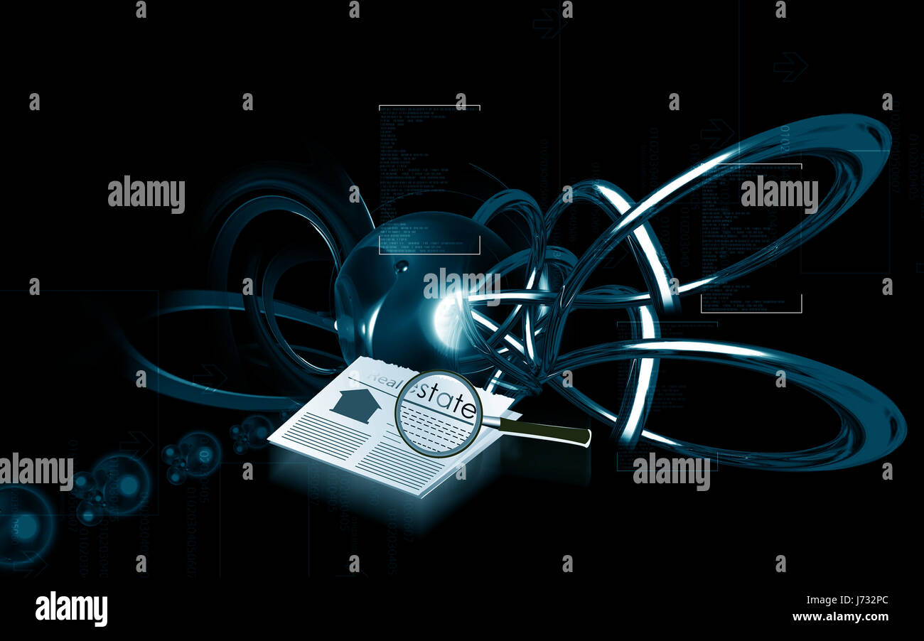 newspaper journal magnifier news illustration abstract residence image photo - Stock Image