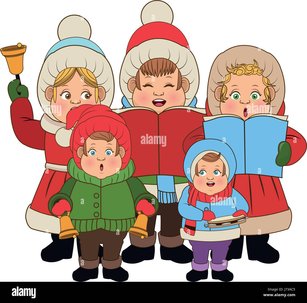 Christmas Singing Images.Group Of People Chorus Singing Christmas Songs Stock Vector