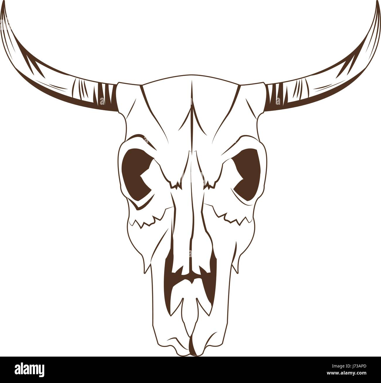 deer skull in tribal style. animal skull with ethnic ornament. wild and free design. - Stock Image