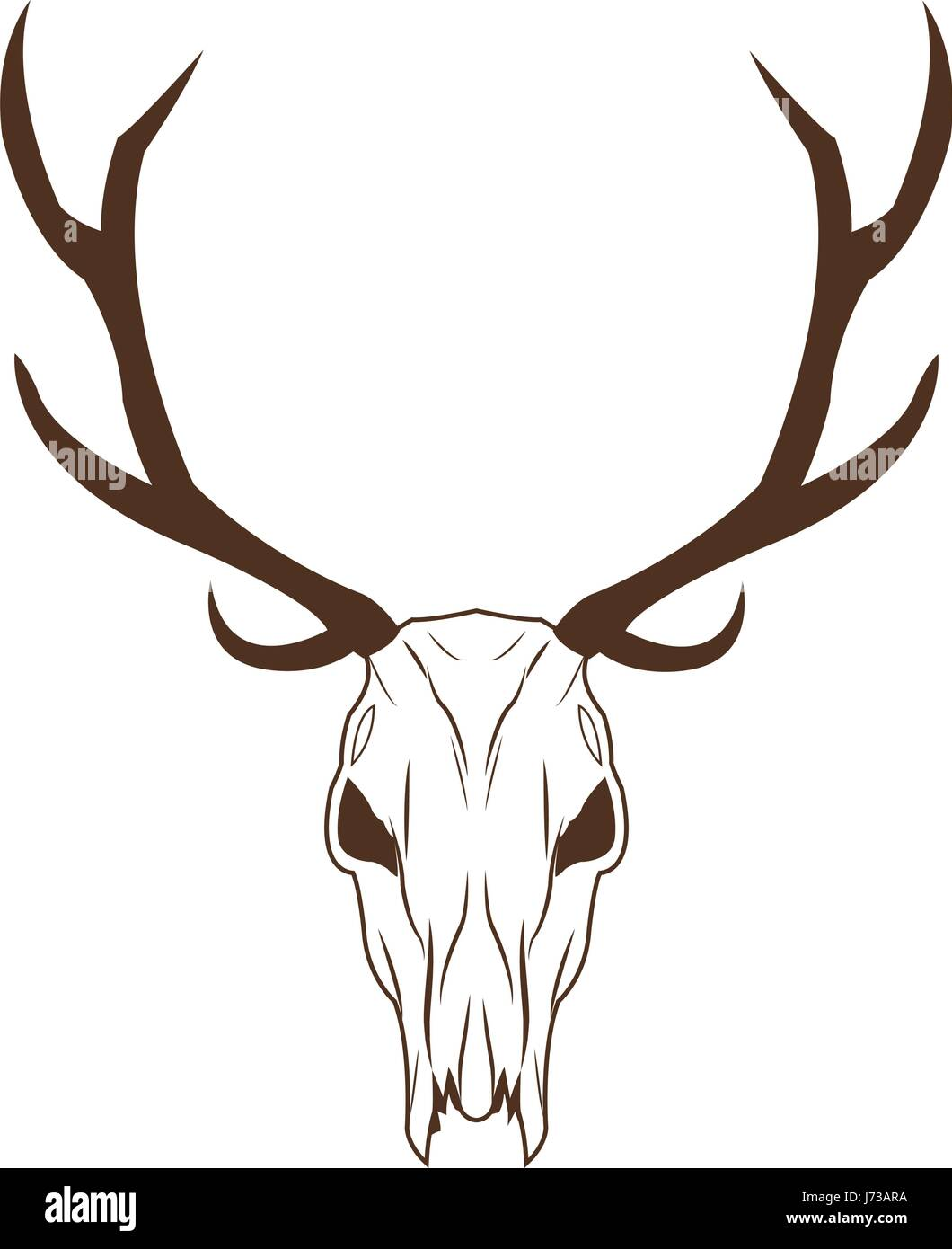 deer skull in tribal style. animal skull with ethnic ornament. wild ...