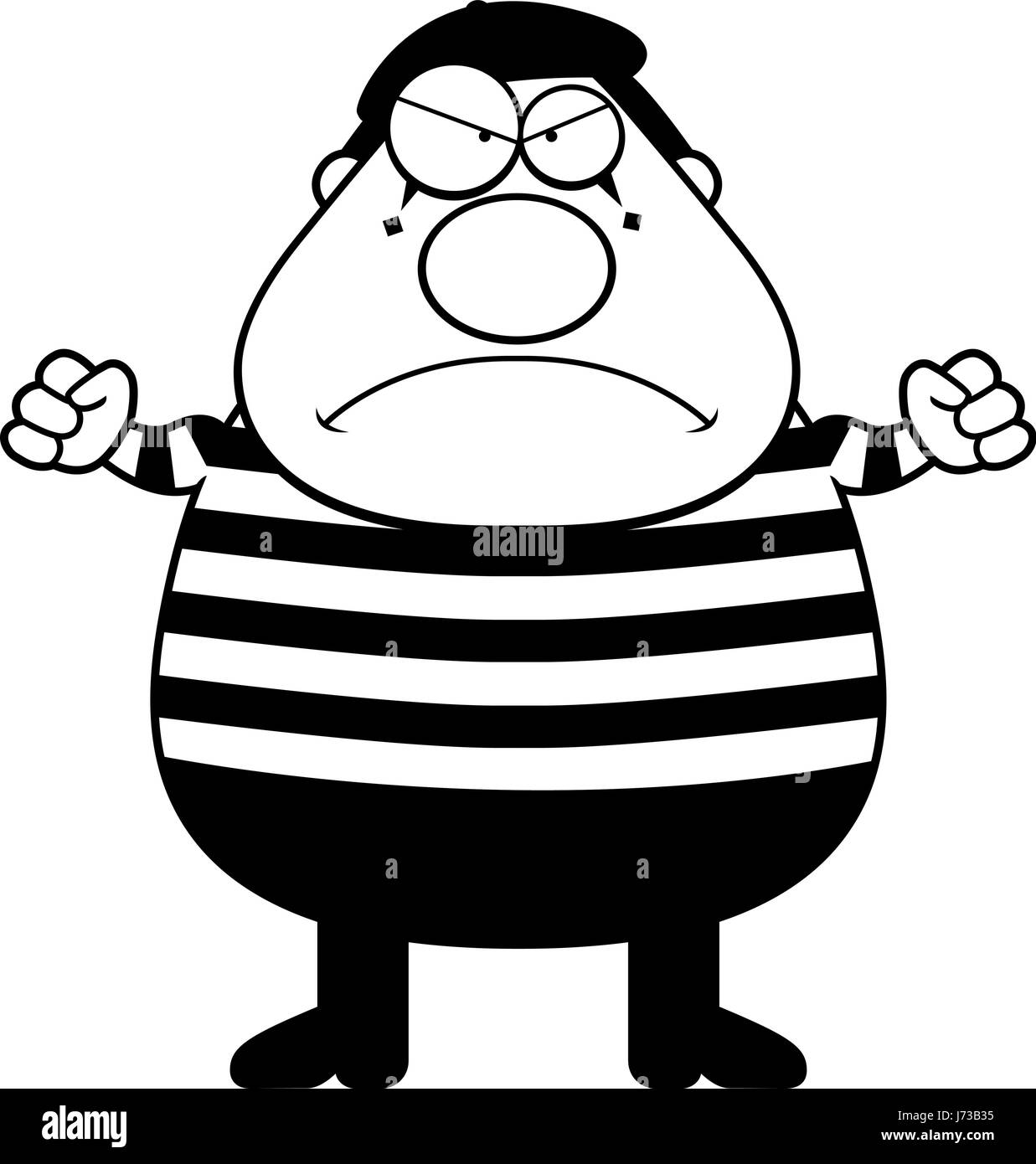 A cartoon illustration of a mime with an angry expression. - Stock Vector