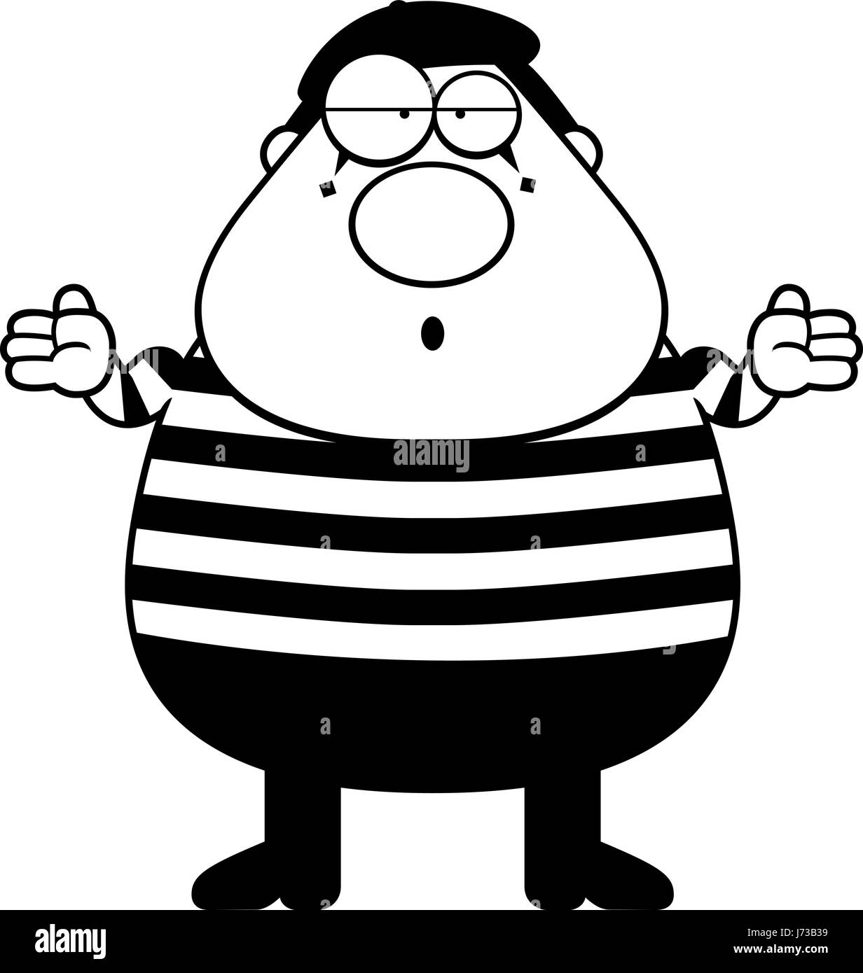 A cartoon illustration of a mime with a confused expression. - Stock Vector