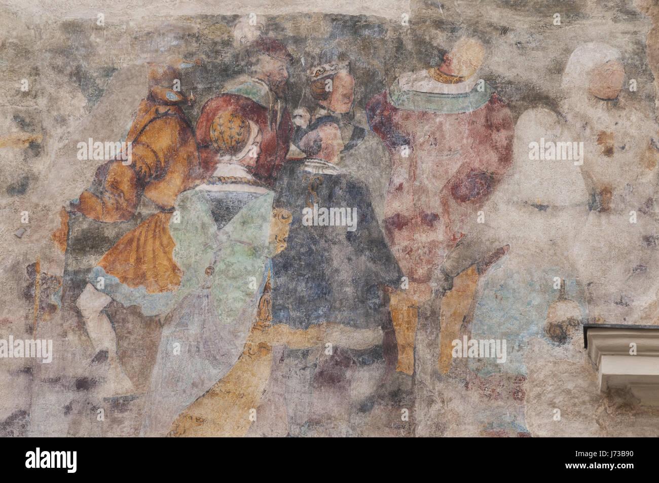 Austria, Wachau, Krems an der Donau Stein, painted wall - Stock Image
