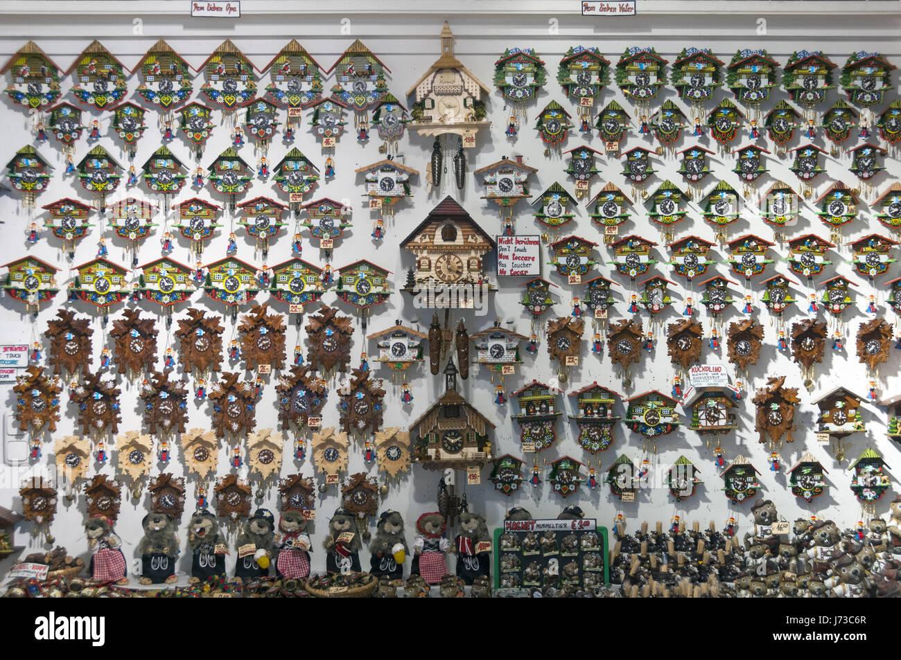 Austria, Salzkammergut, St Wolfgang, cuckoo clocks - Stock Image