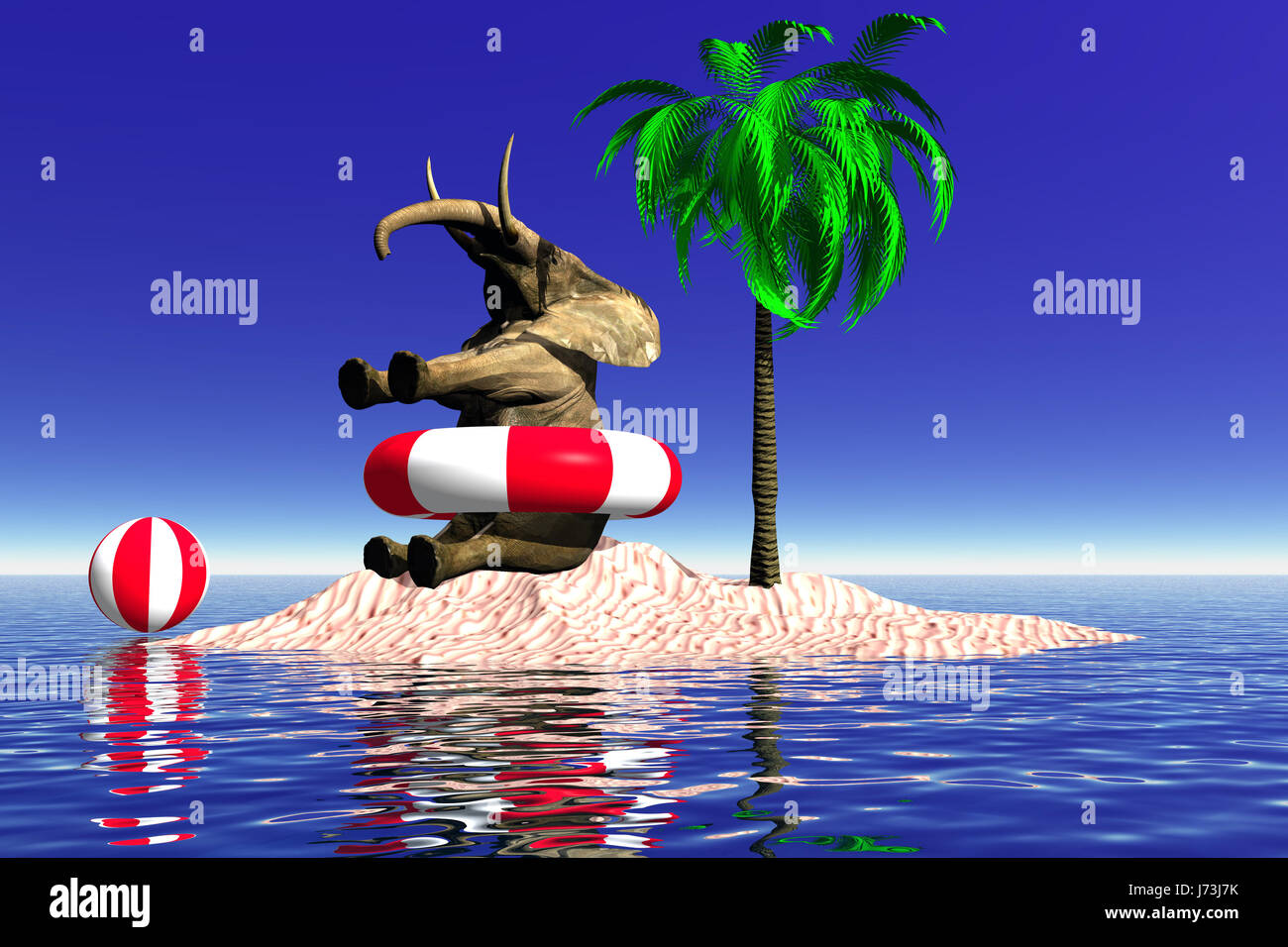 elephant ripe palm tree lifebelt bathing ring lonesomely alone ...